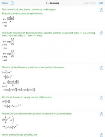 Mathematics with PocketCAS pro for iPad