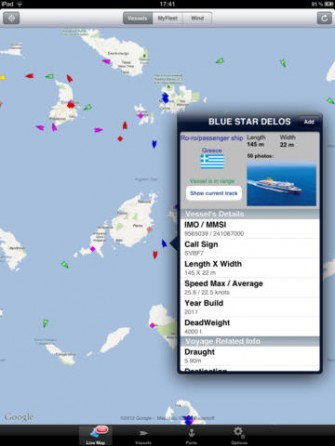 MarineTraffic for Ships & Wind for iPad